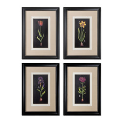Uttermost - Uttermost Springtime Flowers Wall Art, Set of 4 41396 - Prints are accented by white, offwhite and sand faux linen mats. Frames are black satin accented with silver inner lips with a heavy gray glaze.
