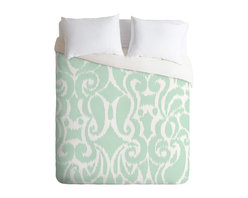 DENY Designs - Khristian A Howell Eloise Queen Duvet Cover - You know you can't resist this perfect pop of color and pattern. The curvy, fresh aqua and white ikat pattern on top reverses to pure white dreaminess underneath for go-with-anything style. Slip it over your favorite duvet, zip the hidden zipper and rest easy.