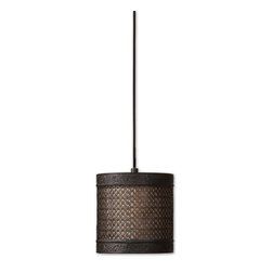 Uttermost - Uttermost New Orleans 1 Lt Mini Hanging Shade in Silken Warm Beige - 1 Lt Mini Hanging Shade in Silken Warm Beige belongs to New Orleans Collection by Uttermost Metal filigree with detailed banding finished in a semi matte black with rust antiquing holds the separate interior shade of silken warm beige fabric. Frosted glass diffuser included. Mini Hanging Shade (1)