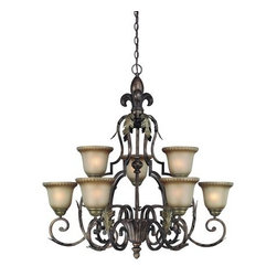 Jeremiah Lighting - Jeremiah Lighting 25729 9 Light Chandelier - Jeremiah Lighting 25729 Devereaux 2 Tier Chandelier The Fleur De Lis symbol has made a statement of style and class for centuries and is even further accentuated in this family. The acanthus leafing accents are also incorporated in the body of each fixture accentuating the old world look and the uniqueness of its design. The finish of Burleson Bronze is multi faceted with shades of a bronze overlay accented with gold, copper, and red clay tones. The use of a hand brushed aged amber glass shades completes the look making the Devereaux a true work of art!Features: