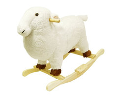 Trademark Global - White Plush Lamb Rocking Animal Toy w Hardwoo - Recommended for ages 2 yrs. old & up. Recommended Weight Limit: 80 lbs.. Soft and plush to the touch. Hand crafted with a hard wood core and stands on sturdy wood rockers. 25 in. L x 14.50 in. W x 22.50 in. H (13 lbs.). Seat Height: 18 in.This cuddly creature is a wonderful toy and a beautiful piece of furniture. Your child will love riding this soft, cuddly lamb. It is soft and plush to the touch from it's smiling face to it's little tail. This animal will make a bold addition to any child's room.