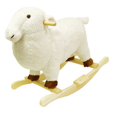 Happy Trails - White Plush Lamb Rocking Animal Toy w Hardwoo - Recommended for ages 2 yrs. old & up. Recommended Weight Limit: 80 lbs.. Soft and plush to the touch. Hand crafted with a hard wood core and stands on sturdy wood rockers. 25 in. L x 14.50 in. W x 22.50 in. H (13 lbs.). Seat Height: 18 in.This cuddly creature is a wonderful toy and a beautiful piece of furniture. Your child will love riding this soft, cuddly lamb. It is soft and plush to the touch from it's smiling face to it's little tail. This animal will make a bold addition to any child's room.