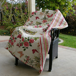 None - Butterflies Quilted Throw - Bring the outdoors into your bedroom with this Butterflies quilted throw. This throw showcases an intricate vermicelli quilting that provides a rich surface texture.