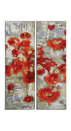Uttermost - Scarlet Poppies Floral Art Set of 2 - Frameless, hand painted artwork on canvas features vibrant, eye-catching color. The canvas has been stretched and attached to wooden stretching bars. Due to the handcrafted nature of this artwork, each piece may have subtle differences.