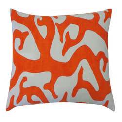 Jiti - Reef Orange Pillow - Spice up your home decor with our Reef Orange Pillow!  Made from 100% Cotton. Invisible Zipper. DRY CLEAN ONLY. Insert is made of 95% feathers and 5% down.