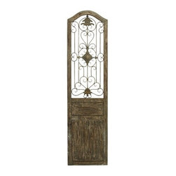 Benzara - Garden Style Wooden Door with Scrolling Ironwork - Garden Style Wooden Door with Scrolling Ironwork. This door is made with a unique garden gate styled floral center and scrolling ironwork that meanders out from it.