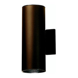 """Kichler - Cans and Bullets 12"""" Architectural Bronze Incandescent  Outdoor Wall Lantern - This handsomely modern wall mount is the perfect light for porches, pathways, and steps. While remaining unobtrusive and understated, it adds a beautiful contemporary feel to any outdoor area. Features: -Two light outdoor wall lantern -Cans and Bullets collection -Architectural bronze finish -Aluminum body -Maximum wattage: 75W -Voltage: 120V -Medium base to accommodate 2 regular incandescent bulb (not included) -Dimensions: 12"""" H x 4.5"""" W -Suitable for damp locations About Kichler: Kichler Lighting is a four-time winner of the Arts Award as Lighting Manufacturer of the Year. The highest accolade our lighting industry can give. Today they are the leading decorative lighting fixture company in the world. Founded in 1938, Kichler remains a privately held, family owned and run business staffed by people who understand decorative home lighting fixtures and who care about their customers. Kichler has built their reputation on original, design-oriented, high quality lighting products at competitive prices, backed by the finest customer service in the industry. Helping to make your house a home is their job and our number one priority. They do this by providing their customers with the widest assortment of home lighting fixtures and home decor accessories in the industry. The Kichler family of brands offers lighting for every room in your home, designed to fit every pocketbook, offering choices to complement your lifestyle and tastes."""