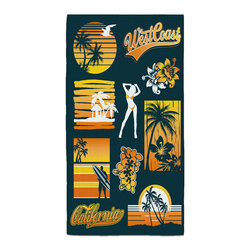 """Eco Friendly """"West Coast Dreamin"""" Bath Hand Towel - Hand Towels are made of a super soft poly fiber fabric with 2mm pile."""
