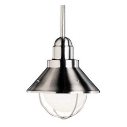 """Kichler Lighting - Kichler Outdoor Hanging Light in Brushed Nickel Finish - 2621NI - Brushed nickel finish over solid brass construction makes this nautical-design mini-pendant a sleek and solid addition to any home. The bulb is surrounded by a cage-like structure, giving this fixture a unique look that will complement any setting. This mini-pendant is suitable for both damp and dry locations, making it perfect for an entryway or over a kitchen island. The included mounting system adapts to ceiling slopes of up to 45 degrees, and 105 inches of extra lead wire is included. Three 12"""" stems included. Takes (1) 100-watt incandescent G40 bulb(s). Bulb(s) sold separately. Dry location rated."""