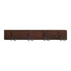 UMA Enterprises - 7'' Wood & Metal Wall Hook - Hang up coats, scarves and other accessories with this handsome wall hook that offers a solid mahogany construction, eight iron hooks and an easy-to-hang design. �� 46'' W x 7'' H x 5'' D Mahogany / iron Imported