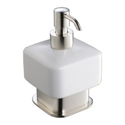 Fresca - Fresca Solido Free Standing Lotion Dispenser - All of our Fresca bathroom accessories are made with brass with a triple brushed nickel finish and have been chosen to compliment our other line of products including our vanities, faucets, shower panels and toilets. They are imported and selected for their modern, cutting edge designs.
