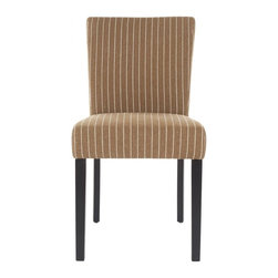 Safavieh - Macee Dining Chair - Macee's slightly tapered back and simple lines are made for any casual, transitional setting. Shown in a brown and cream striped fabric paired with sleek black birch wood legs, Macee is generously padded for supreme comfort.