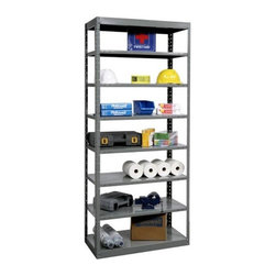 Hallowell - 87 in. High 8-Tier DuraTech Pass-Through Shelf in Gray Finish (48 in. W x 12 in. - Depth: 48 in. W x 12 in. D x 87 in. H. With pass-through shelves that will allow you to add addition units to the side or back, this versatile eight-tier utility shelf will be a versatile way to add storage to a workshop, garage, basement or commercial space. Made of steel in classic gray finish, the unit has six adjustable shelves and two fixed shelves and is available in your choice of sizes. Includes 4 angle posts, 2 DuraTechT bolt-in shelves, intermediate adjustable shelves with shelf clips. Pass-through style. 2 Fixed and 6 adjustable shelves. Free standing and can be joined end-to-end or back-to-back. 4 Bolts at each corner top and bottom provide a very strong frame for maximum strength. Bottom shelf is positioned to prevent debris from collecting beneath unit. 48 in. W x 12 in. D x 87 in. H. 48 in. W x 18 in. D x 87 in. H. 48 in. W x 24 in. D x 87 in. H. Assembly required. 1-Year warranty