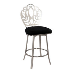 Chintaly Imports - Laser Cut Back Memory Back Swivel Bar Stool in Brushed Nickel plated - Oh so elegant. Brushed nickel plated, laser cut look back in beautiful design. Comfort foot rest. Cushioned seat upholstered in Black microfiber fabric. Available in Counter stool or Bar stool height. Beautiful addition to any decor.