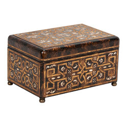 Large Carved Wood Coromandel Box in Antique Gold