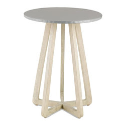 Currey & Company - Cyrus Occasional Table - Smooth and cool with subtle finishing. We topped the architectural Sand Vintage base of the Cyrus Occasional Table with a modern metal top to create this sculptural and simplified table. For everyday care, dust with a clean, dry cloth. Wipe spills immediately with soft dry cloth. Always use coasters or mats. Never place cups, glasses or anything hot directly on the surface. This could cause discoloration.