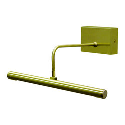 """House of Troy - Battery Operated Slim-LED 14"""" Satin Brass Picture Light - Dimensions: 3.25""""D, 12.5W, 7""""D. Shade Size: 12.5"""""""