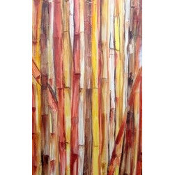 Thicket (Original) by Devika Keskar - This painting is a textured, abstract rendition of a Bamboo thicket. Painted in earthy tones of brown, beige and yellow, this piece has a lot of texture since I have layered texture paste on to the canvas before starting the painting. Sure to add character and personality to any space, this piece looks gorgeous when light picks up the texture in it.