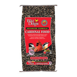 Wild Delight - Cardinal Food 30 lbs + Freight - A premium wild bird food blended to attract and feed the most desirable outdoor pets. Cardinals, Songbirds, Titmice, Grosbeaks, Thrushes, Jays and other outdoor pets. Features: Real cherries, real nuts, added vitamins, added minerals, electrolytes, amino