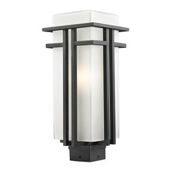 Z-Lite - Z-Lite Abbey Outdoor X-KB-BHP945 - The geometric lines of the Abbey family combine well with contemporary home styling as well as homes in the craftsmen style.  This large outdoor post head fixture is made of steel  and finished in black with matte opal glass.