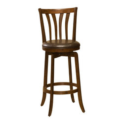 Hillsdale Furniture - Hillsdale Savana Swivel 30 Inch Barstool in Cherry - Hillsdale Furniture's unique Savana stool has a sturdy base with flared legs. The back has an interesting arched spindle design and the seat is covered in easy to care for vinyl. This handsome stool is available in either a black finish with black vinyl or a cherry finish with brown vinyl. Exuding a warm, rich ambiance and constructed of hardwood, these stools are a fantastic addition to any kitchen or home bar area.
