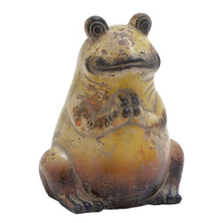 """Benzara - Ceramic Frog with Weathered Painting and Rustic Finish - A perfect addition to your home decor, this ceramic frog will add grace and elegance to the existing home decor. Crafted with fine detailing and expert artisanship, this wonderful piece of art depicts a frog in a sitting posture looking at you with bewildered eyes. The weathered painting of this frog figurine makes it look rustic and is sure to complement the interior of room. With its stunning finish, this statue is sure to enhance the charm of the decorative shelf of your home. Decorate your study table, mantelpiece, windowsill, or place it on the corner table your living room and spice up the decor of your living space. It will bring a classic elegance to your home. Its sturdy built makes it highly durable and the high quality ceramic material involved in making this elegant decor bears testimony to its long lasting performance for years to come; Crafted with fine detailing; Weathered painting; Stunning finish; Built with high quality ceramic material; Weight: 3.97 lbs; Dimensions:10""""W x 7""""D x 11""""H"""