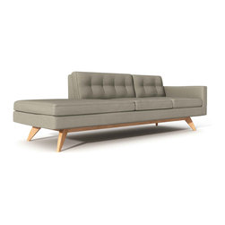 "Luna 94"" One-Arm Sofa with Chaise - The Luna One-Arm Sofa with Chaise is a modern take on a classic Danish design. A truly comfortable chaise made to fit any room. Designed by Edgar Blazona for TrueModern, its beautifully simple shape is upholstered with a comfortable and durable 100% polyester fabric. Button tufting on the back cushions gives the sofa a retro feel. The solid wooden frame and legs give it a sturdy, confident stance. Luna's removable back and bottom cushions sit atop an upholstered well-tailored deck.This sofa can be ordered on rigth and left orientations. The Luna sofa is available in five color choices and Wooden legs are available in three finishes."