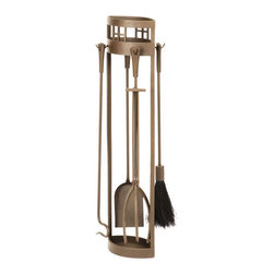 Arts & Crafts Fireplace Tool Set - Roman Bronze Powder Coat - The oval shaped Arts & Crafts Fireplace Tool Set is visually interesting while remaining functional and long lasting. Pair with the matching firewood holder and tool set to complete the look.