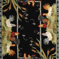 """Safavieh - Safavieh Chelsea HK56B 2'6"""" x 12' Black Rug - 100% pure virgin wool pile, hand-hooked to a durable cotton backing. American Country and turn-of-the-century European designs. This collection is handmade in China exclusively for Safavieh."""