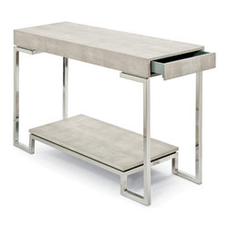 Kathy Kuo Home - Millicent Coastal Beach Ivory Grey Shagreen Silver Console Table - Opposites are attractive in this polished chrome and grey, textured faux shagreen console table. The soft, subtle matte material covering the tabletop and shelf below is in stark contrast to the sleek, polished silver base. A slim drawer, hidden in the tabletop, is a small treasure trove for your favorite indulgences.