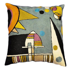 """Modern Wool - Kandinsky Teal Cushion Cover La Grande Piazza Kiev Hand Embroidered 18"""" x 18"""" - Kandinsky cushion cover- Star fragments and enigmatic hieroglyphs artfully stitched in the finest Kashmir wool chainstitch needlework. Cosmic colors like blue, lavender and silver complement earthier tones of terra cotta, harvest green and amber to recreate a design based on the work of influential Russian artist, Wassily Kandinsky.The exciting pattern evokes the thought of a ladder to the stars, a comet's tail,or a star map. This cover could grace the cabin of your boat or the chair in your solarium and yet be equally as comfortable in your den. Durable and easy to clean, this toss pillow will catch the eye of every passerby."""