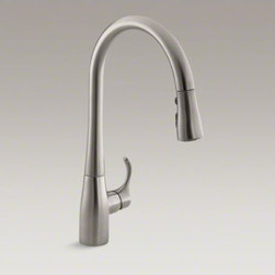 "KOHLER - KOHLER Simplice(R) single-hole or three-hole kitchen sink faucet with 16-5/8"" pu - An innovative fit for a variety of kitchens and tasks, this Simplice kitchen faucet combines an elegant, universal design with exceptional ergonomics and functionality. The high-arch swing spout rotates 360 degrees, while the smoothly maneuvering sprayhea"