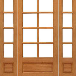 "Prehung 8-lite French Brazilian Mahogany Wood 1 Panel IG Glass Sidelights Door - SKU#    8-lite-P/B-Ext-1-2Brand    AAWDoor Type    FrenchManufacturer Collection    Mahogany French DoorsDoor Model    Door Material    WoodWoodgrain    MahoganyVeneer    Price    1748Door Size Options    [24""+2(14"") x 80""] (4'-4"" x 6'-8"")  $0[30""+2(14"") x 80""] (4'-10"" x 6'-8"")  $0[32""+2(14"") x 80""] (5'-0"" x 6'-8"")  $0[36""+2(14"") x 80""] (5'-4"" x 6'-8"")  +$10Core Type    SolidDoor Style    Door Lite Style    3/4 Lite , 8 LiteDoor Panel Style    1 Panel , Ovolo StickingHome Style Matching    Craftsman , Colonial , Cape Cod , VictorianDoor Construction    Engineered Stiles and RailsPrehanging Options    PrehungPrehung Configuration    Door with Two SidelitesDoor Thickness (Inches)    1.75Glass Thickness (Inches)    1/2Glass Type    Double GlazedGlass Caming    Glass Features    Insulated , Tempered , low-E , Beveled , DualGlass Style    Clear , White LaminatedGlass Texture    Clear , White LaminatedGlass Obscurity    No Obscurity , High ObscurityDoor Features    Door Approvals    FSCDoor Finishes    Door Accessories    Weight (lbs)    850Crating Size    25"" (w)x 108"" (l)x 52"" (h)Lead Time    Slab Doors: 7 daysPrehung:14 daysPrefinished, PreHung:21 daysWarranty    1 Year Limited Manufacturer WarrantyHere you can download warranty PDF document."