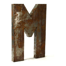 """Kathy Kuo Home - Industrial Rustic Metal Large Letter M 36""""H - Create a verbal statement!  Made from salvaged metal and distressed by hand for an imperfect, time-worn look."""