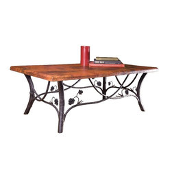 Mathews & Company - Piney Woods Cocktail Table Base Only - This rustic Piney Woods Cocktail Table Base Only allows you to use your own table top such as granite, custom wood, stone, or glass. Pictured in Black finish.