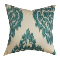 "The Pillow Collection - Ajayi Ikat Pillow Teal 18"" x 18"" - Provide a beautiful statement piece for your living room, bedroom or guestroom with this scene-stealing ikat throw pillow. This square pillow comes with a unique ikat pattern in teal blue and white color palette. You can prop up this pillow anywhere inside your home to make it more appealing and relaxing. This 18"" pillow is American-made and uses 100% plush cotton fabric. Hidden zipper closure for easy cover removal.  Knife edge finish on all four sides.  Reversible pillow with the same fabric on the back side.  Spot cleaning suggested."