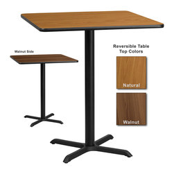 Flash Furniture - Flash Furniture 36 Inch Square Bar Table with Reversible Laminate Top - Complete your restaurant, break room or cafeteria with this reversible table top. The reversible laminate top features two different laminate finishes. This table top is designed for commercial use so you will be assured it will withstand the daily rigors in the hospitality industry. [XU-WNT-3636-GG]