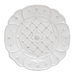 Jardins Du Monde Villandry Dessert Plate - Whitewash - The whimiscal shaping of the Jardins Du Monde Dessert plate lends itself to a classic white coloring but adds a special touch with the lovely patterning that adorns the top of the plate. Serve a delicious tiramisu atop this elegant serving piece and you'll be guaranteed compliments on your excellent taste in kitchen ware.