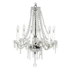 Belle & June - Middleton Glass & Chrome 6 Light Chandelier - This 6 light Middleton Chandelier features cascading crystal strings that elegantly drop right below the white lights. This chandelier is a most dramatic addition to any girls nursery or bedroom that will make her feel like a princess.