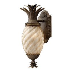 Hinkley Lighting - Hinkley Lighting 2126PZ-GU24 Plantation 1 Light Outdoor Wall Lights in Pearl Bro - A Hinkley classic, the ornate Plantation collection features exceptional pineapple shaped optic glass, durable brass and aluminum construction and elaborate, decorative cast detailing to create a noble statement.