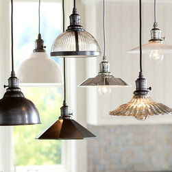 PB Classic Pendants - Create customized task lighting for the kitchen, laundry room or utility room. Choose the finish of your Bell Pendant shade, then add the cord kit in either Antique Bronze or Polished Nickel.