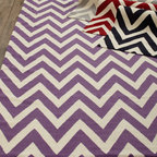 "Exquisite Rugs ""Delia Chevron"" Flatweave Rug - Handwoven and hand trimmed by master weavers, this rug features a chevron-stripe pattern to add fashionable style and color to the room.        Flatweave."