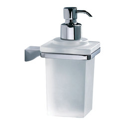 Gedy - Wall Mounted Square Frosted Glass Soap Dispenser With Chrome Mounting - Modern, decorative square chrome wall mount soap dispenser pump.