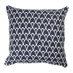 COCOCOZY - COCOCOZY Arch Linen Pillow in Navy Reverse - 100% linen. Down inserts. Piping. Original Designs by Coco of COCOCOZY. Custom made. Manufactured in the U.S.