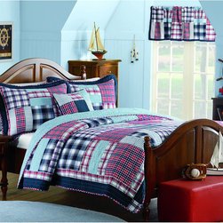 None - Cameron 5-Piece Quilt Set - This yarn dyed quilt set with decorative pillow provides a soft and warm feel to your bedroom. The rod pocket country patch pieced valance creates a room with a view and gives you a peaceful feel.