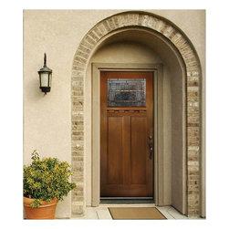 Fir Grain  Fiberglass Door - 3_0 x 6_8 Fir Grain Series_ Direct Glazed Craftsman w Artesano Doorlite & Dentil Shelf ---