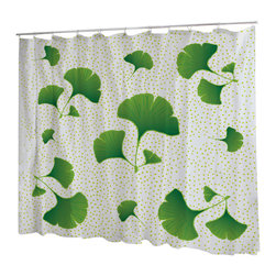 Uneekee - Uneekee Gingko Shower Curtain - Your shower will start singing to you and thanking you for such a glorious burst of design as you start your day!  Full printing on the front and white on the back.  Buttonhole openings for shower rings.