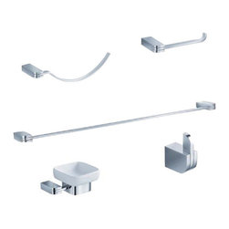 "Fresca - Fresca Solido 5-Piece Bathroom Accessory Set - Chrome - Fresca Solido 24"" Towel Bar (FAC1337) - Dimensions:  23.5""W x 2.75""D x 1""H. Fresca Solido Soap Dish (FAC1308) - Dimensions:  4.75""W x 4""D x 2.25""H. Fresca Solido Towel Ring (FAC1362) - Dimensions:  11.25""W x 2.75""D x 2.75""H. Fresca Solido Toilet Paper Holder (FAC1329) - Dimensions:  6.5""W x 2.75""D x 1""H. Fresca Solido Robe Hook (FAC1301) - Dimensions:  1""W x 1.5""D x 2""H. Heavy Duty Brass with Triple Chrome Finish. . . All of our Fresca bathroom accessories are made with brass with a triple chrome finish and have been chosen to compliment our other line of products including our vanities, faucets, shower panels and toilets.  They are imported and selected for their modern, cutting edge designs."