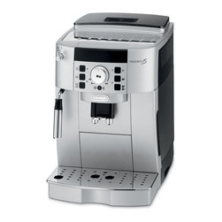 DeLonghi - Magnifica Super Automatic Beverage Machine - The DeLonghi ECAM22110SB Magnifica XS Compact Super Automatic Cappuccino, Latte and Espresso Machine maintains all the features of a full-size automatic machine in a smaller footprint. The easy-to-Use control panel has menu settings for temperature, coffee strength and cup size. The patented stainless steel cappuccino system frother produces a rich, creamy froth for great cappuccinos and lattes. The compact and patented Direct-to-Brew System with Thermoblock technology provides excellent heat distribution and is removable for easy cleaning. The coffee beans are ground instantly to ensure the freshest espresso or coffee. The flavor-saving bean container with special seal and darkened lid assure the coffee beans stay fresh for a perfect beverage every time. Compact cappuccino, latte and espresso machine.