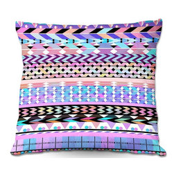 DiaNoche Designs - Pillow Linen by Organic Saturation - Girly Colorful Aztec Pattern - Add a little texture and style to your decor with our Woven Linen throw pillows. The material has a smooth boxy weave and each pillow is machine loomed, then printed and sewn in the USA.  100% smooth poly with cushy supportive pillow insert with a hidden zip closure. Dye Sublimation printing adheres the ink to the material for long life and durability. Double Sided Print, machine wash upon arrival for maximum softness. Product may vary slightly from image.